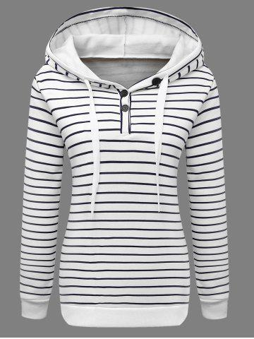 Buttoned Striped Drawstring Hoodie - White - Xl