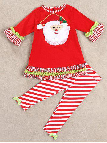 Christmas Santa Long Sleeve Tops Striped Pants Outfits - Red - 70