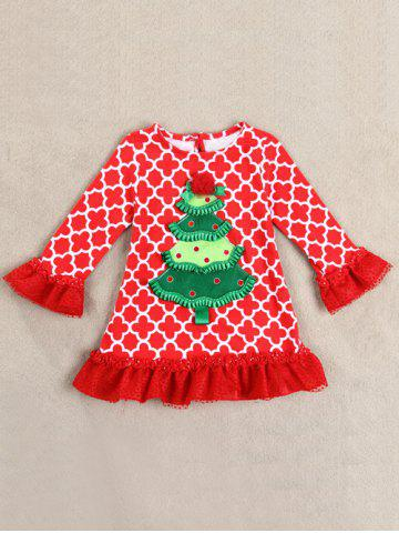 Affordable Kids Christmas Tree Long Sleeve Tops and Pants Outfits - 100 RED Mobile
