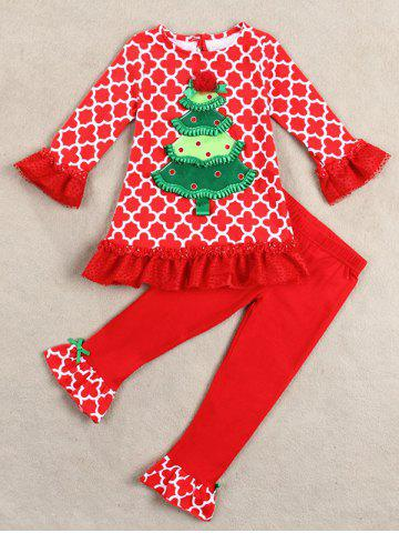 Kids Christmas Tree Long Sleeve Tops and Pants Outfits - Red - 70
