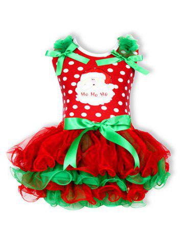 Affordable Christmas Polka Dot Santa Clause Embroidered Dress - 80 RED Mobile