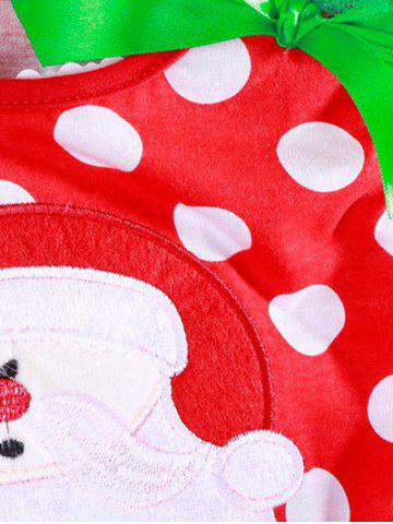 Fancy Christmas Polka Dot Santa Clause Embroidered Dress - 80 RED Mobile