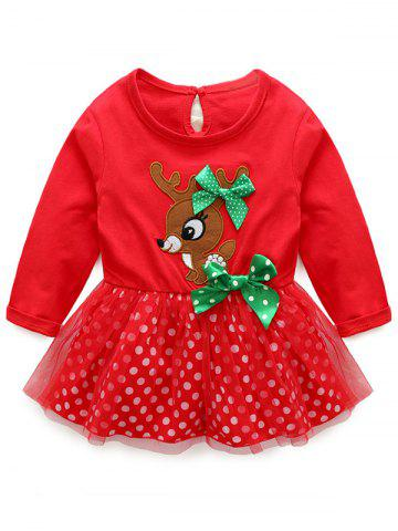 Unique Kids Christmas Elk Dress With Striped Pants Outfits - 100 RED Mobile