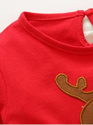 Online Kids Christmas Elk Dress With Striped Pants Outfits - 90 RED Mobile