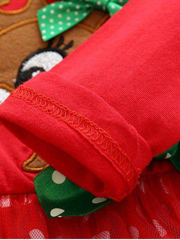 Unique Kids Christmas Elk Dress With Striped Pants Outfits - 80 RED Mobile