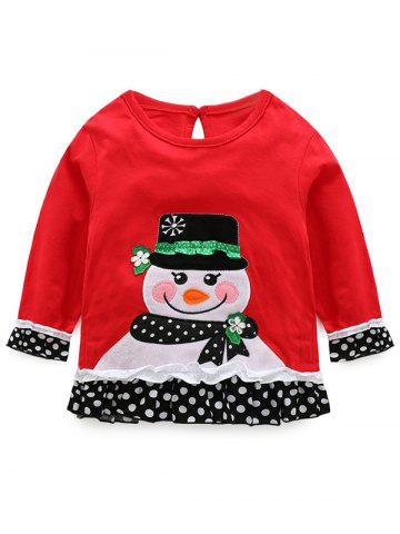 Shops Kids Christmas Snowman T-Shirt With Striped Pants Outfits - 110 RED Mobile