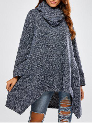 New Hooded Asymmetric Loose Sweater CADETBLUE ONE SIZE