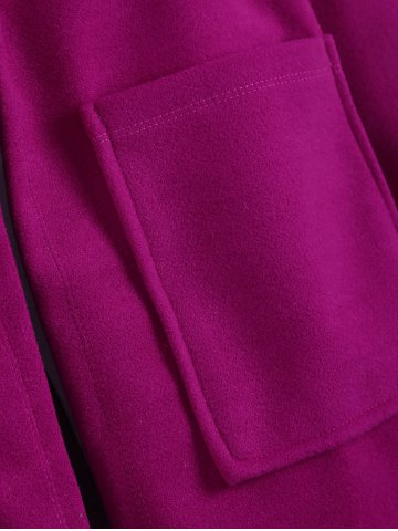 New Plus Size Hooded Candy Color Long Open Front Coat - 5XL FUCHSIA ROSE Mobile