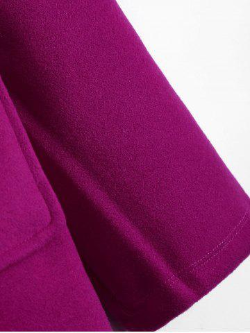 Best Plus Size Hooded Candy Color Long Open Front Coat - 2XL FUCHSIA ROSE Mobile