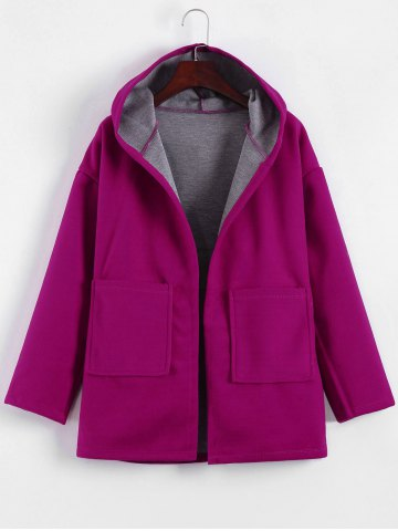 Plus Size Hooded Candy Color Long Open Front Coat - FUCHSIA ROSE XL