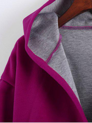 Best Plus Size Hooded Candy Color Long Open Front Coat - L FUCHSIA ROSE Mobile