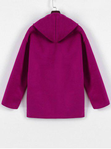 Hot Plus Size Hooded Candy Color Long Open Front Coat - L FUCHSIA ROSE Mobile