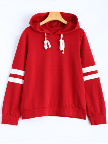 Affordable Hooded Striped Sweatshirt WINE RED L