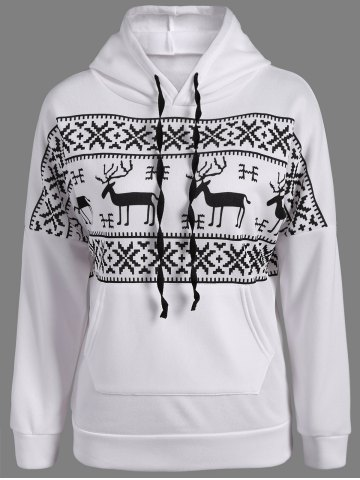 Sale Elk Print Pocket Design Hoodie - 4XL WHITE Mobile