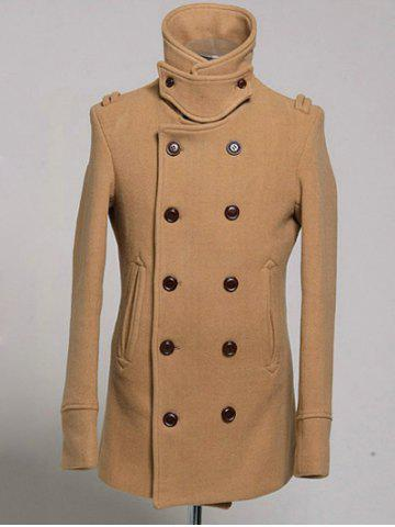 Chic Double Breasted Epaulet Design Wool Blend Coat