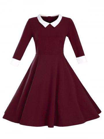 Sale Fit and Flare Color Block Vintage Dress WINE RED 3XL