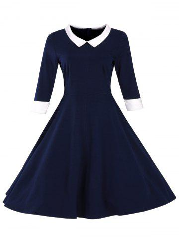 Retro Flat Collar Flare Dress - PURPLISH BLUE XL