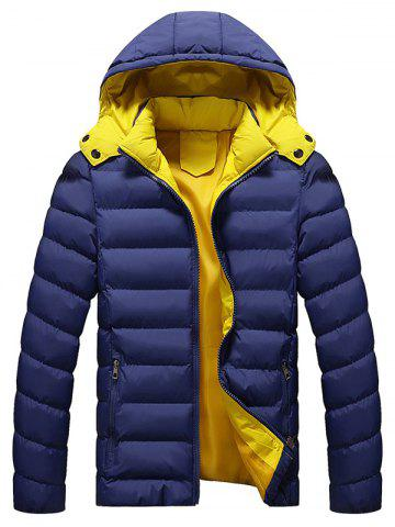Best Zip Pocket Hooded Padded Jacket DEEP BLUE L