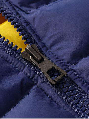 Shop Zip Pocket Hooded Padded Jacket - M STONE BLUE Mobile