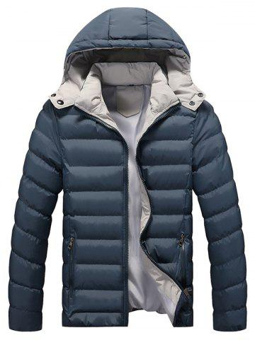 Latest Zip Pocket Hooded Padded Jacket - M STONE BLUE Mobile