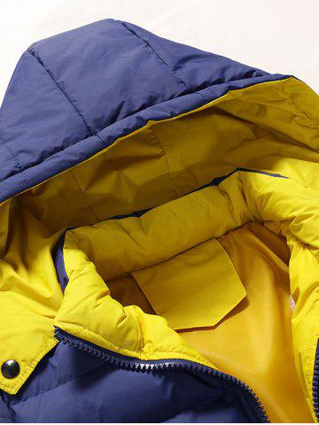 Affordable Zip Pocket Hooded Padded Jacket - M STONE BLUE Mobile