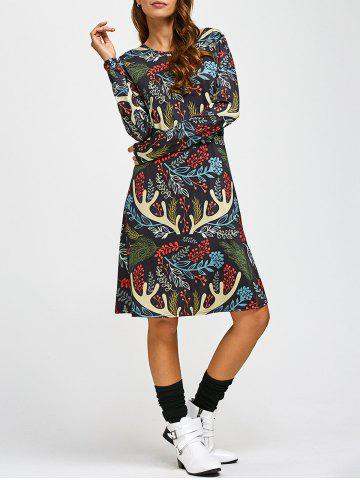 Unique Christmas Leaf Antler Print A-Line Dress COLORMIX ONE SIZE