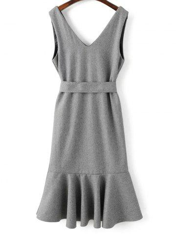 Sleeveless Wool Blend Mermaid Dress - Gray - M