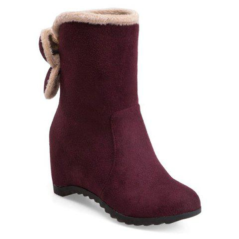 Trendy Bow Mid Calf Hidden Wedge Boots WINE RED 39