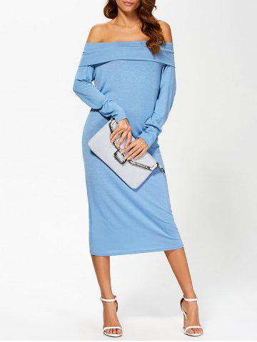 Outfits Off Shoulder Midi Long Sleeve Party Dress BLUE S