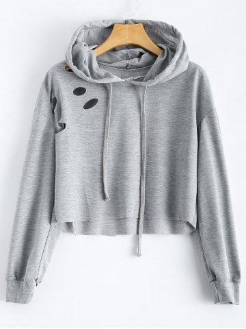 Outfit Polka Dot Cut Out Cropped Short Hoodie LIGHT GREY M
