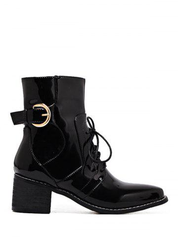 Trendy Patent Leather Chunky Heel Combat Boots