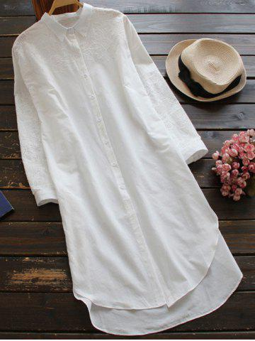 Buy High Low Embroidered Shift Shirt Dress - White ONE SIZE