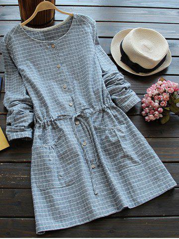 Casual Long Sleeve Drawstring Checked Shirt Dress - Blue Gray - One Size