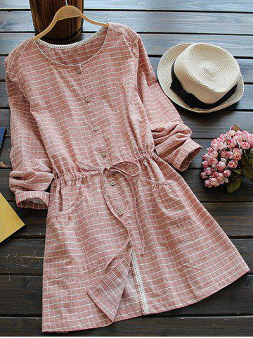 Unique Casual Long Sleeve Drawstring Checked Shirt Dress - ONE SIZE SPICE Mobile