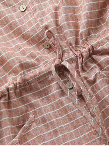 Outfit Casual Long Sleeve Drawstring Checked Shirt Dress - ONE SIZE SPICE Mobile