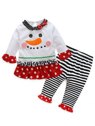 Kids Christmas Cartoon T-Shirt With Striped Pants Outfits - White - 110