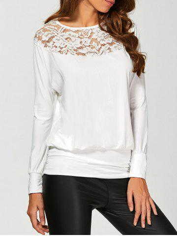Online Long Sleeve Lace Insert T-Shirt WHITE S