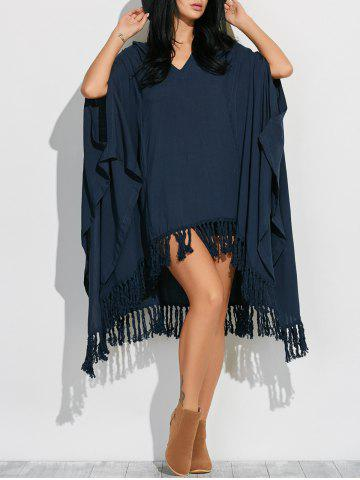 Unique Side Slit Hooded Caped Poncho Dress CADETBLUE XL