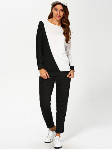 Hot Color Block Sweatshirt With Pants Suit WHITE AND BLACK XL