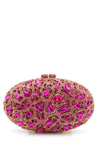 Cheap Oval Rhinestone Evening Bag - ROSE RED  Mobile