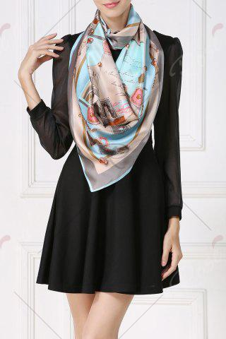 Trendy Soft Envelopes Print Square Scarf - CLOUDY  Mobile