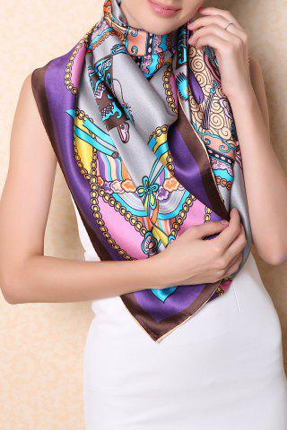 Outfit Soft Chinese Ancient Auspicious Clouds Square Scarf - GRAY  Mobile