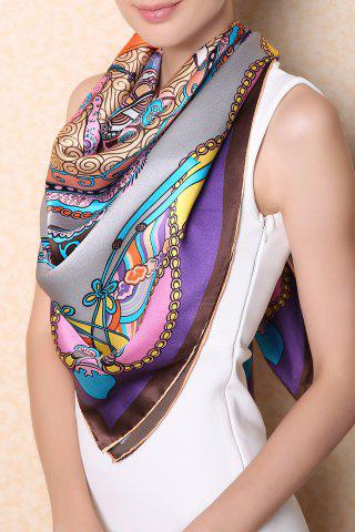 Shop Soft Chinese Ancient Auspicious Clouds Square Scarf - GRAY  Mobile