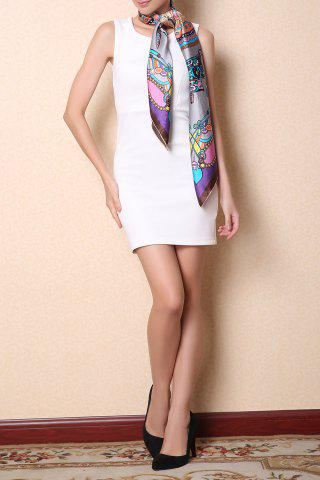 Online Soft Chinese Ancient Auspicious Clouds Square Scarf - GRAY  Mobile