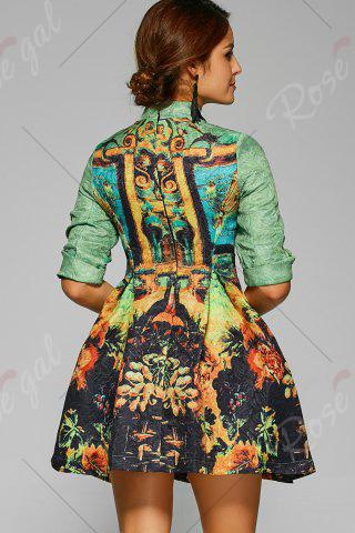 New Fit and Flare Mini Cheongsam Dress - S GREEN Mobile