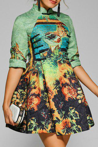Affordable Fit and Flare Mini Cheongsam Dress GREEN S