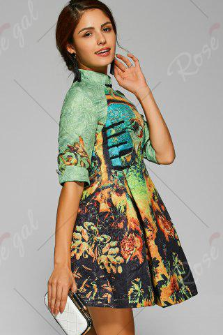 Trendy Fit and Flare Mini Cheongsam Dress - S GREEN Mobile