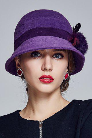 Affordable Outdoor Pom Ball Feather Felt Cloche Hat - PURPLE  Mobile