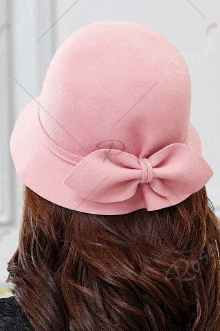 Hot Outdoor Big Bowknot Wool Cloche Hat - PINK  Mobile