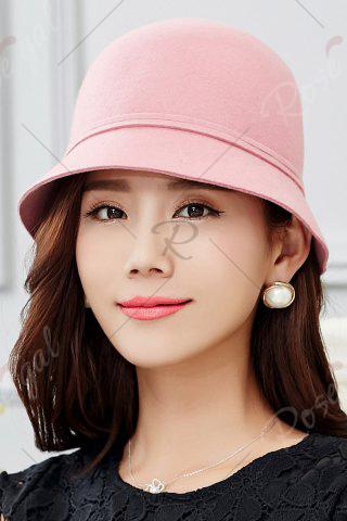 Shop Outdoor Big Bowknot Wool Cloche Hat - PINK  Mobile